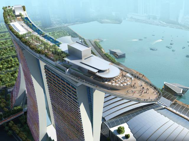 The groundbreaking architectural design puts the Sands SkyPark 200 meters in the air