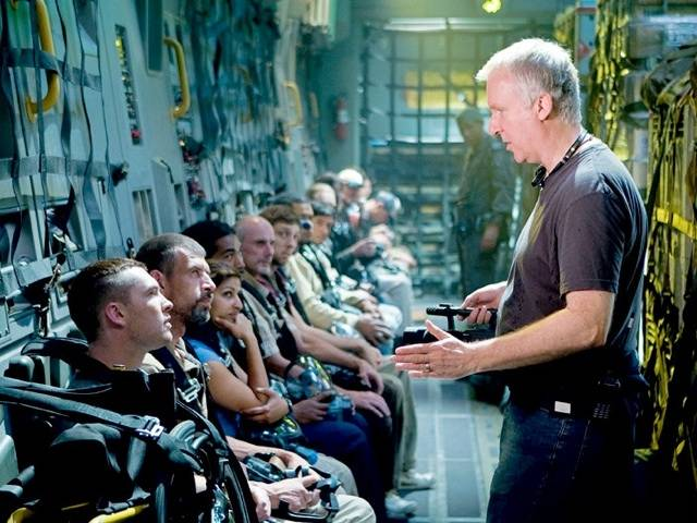 James Cameron giving his acting crew instructions