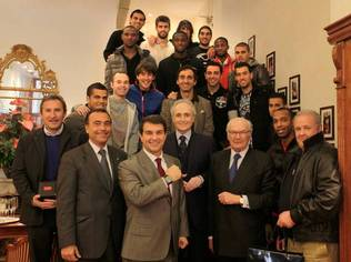 Karl Scheufele and FC Barcelona at the presentation in Chopard Boutique in Barcelona
